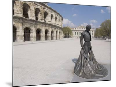 Roman Arena with Bullfighter Statue, Nimes, Languedoc, France, Europe-Ethel Davies-Mounted Photographic Print