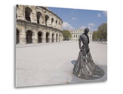 Roman Arena with Bullfighter Statue, Nimes, Languedoc, France, Europe-Ethel Davies-Metal Print