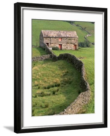 Traditional Barn in Upper Swaledale, Yorkshire Dales National Park, Yorkshire, England, UK-Patrick Dieudonne-Framed Photographic Print