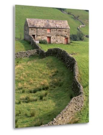 Traditional Barn in Upper Swaledale, Yorkshire Dales National Park, Yorkshire, England, UK-Patrick Dieudonne-Metal Print