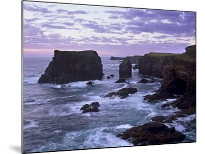 Sunset at Eshaness Basalt Cliffs, with Moo Stack on Left, Northmavine, Shetland Islands, Scotland-Patrick Dieudonne-Mounted Photographic Print