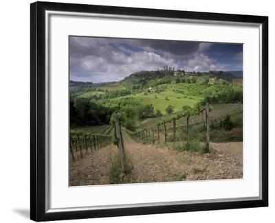 Vineyards and the Medivel Town of San Gimignano Delle Belle Torri, Tuscany, Italy-Patrick Dieudonne-Framed Photographic Print