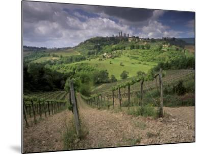 Vineyards and the Medivel Town of San Gimignano Delle Belle Torri, Tuscany, Italy-Patrick Dieudonne-Mounted Photographic Print