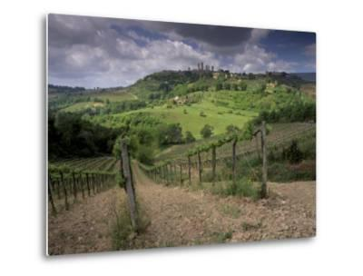 Vineyards and the Medivel Town of San Gimignano Delle Belle Torri, Tuscany, Italy-Patrick Dieudonne-Metal Print