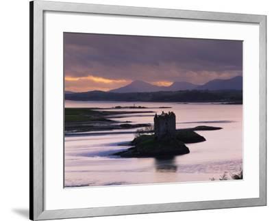 Castle Stalker on Loch Linnhe, Silhouetted at Dusk, Argyll, Scotland, United Kingdom, Europe-Nigel Francis-Framed Photographic Print