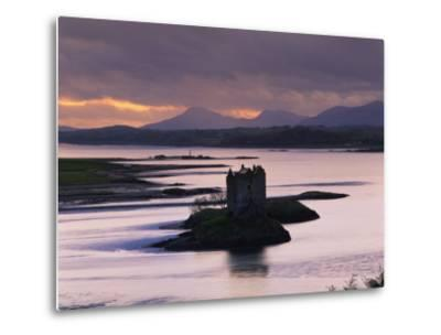 Castle Stalker on Loch Linnhe, Silhouetted at Dusk, Argyll, Scotland, United Kingdom, Europe-Nigel Francis-Metal Print