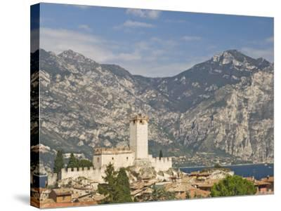 View over Malcesine and the Scaligero Castle, Lake Garda, Veneto, Italy, Europe-James Emmerson-Stretched Canvas Print