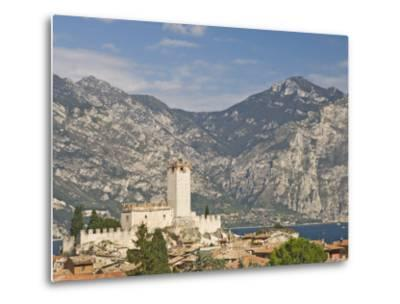 View over Malcesine and the Scaligero Castle, Lake Garda, Veneto, Italy, Europe-James Emmerson-Metal Print