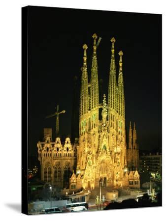 Sagrada Familia, the Gaudi Cathedral, Illuminated at Night in Barcelona, Cataluna, Spain-Nigel Francis-Stretched Canvas Print