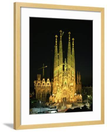 Sagrada Familia, the Gaudi Cathedral, Illuminated at Night in Barcelona, Cataluna, Spain-Nigel Francis-Framed Photographic Print