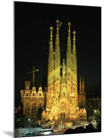 Sagrada Familia, the Gaudi Cathedral, Illuminated at Night in Barcelona, Cataluna, Spain-Nigel Francis-Mounted Photographic Print