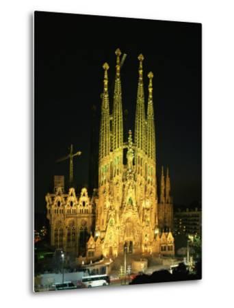 Sagrada Familia, the Gaudi Cathedral, Illuminated at Night in Barcelona, Cataluna, Spain-Nigel Francis-Metal Print
