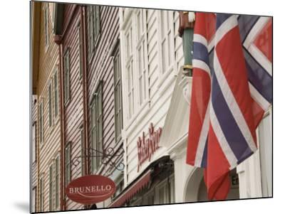 Wooden Merchants Premises and Norwegian Flag, Bryggen Old Harbour Side, Bergen, Norway, Scandinavia-James Emmerson-Mounted Photographic Print