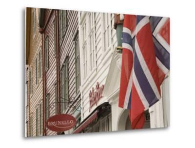 Wooden Merchants Premises and Norwegian Flag, Bryggen Old Harbour Side, Bergen, Norway, Scandinavia-James Emmerson-Metal Print
