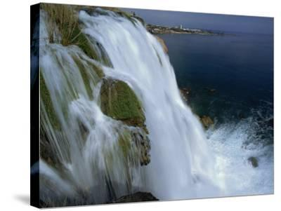 Lower Duden Falls Plunging into the Sea 10Km East of Antalya, Anatolia, Turkey Minor, Eurasia-Robert Francis-Stretched Canvas Print