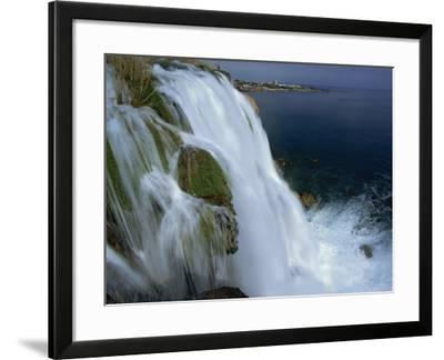 Lower Duden Falls Plunging into the Sea 10Km East of Antalya, Anatolia, Turkey Minor, Eurasia-Robert Francis-Framed Photographic Print
