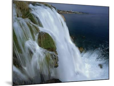 Lower Duden Falls Plunging into the Sea 10Km East of Antalya, Anatolia, Turkey Minor, Eurasia-Robert Francis-Mounted Photographic Print
