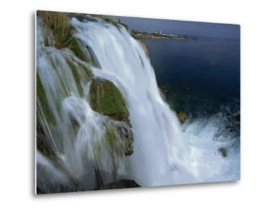 Lower Duden Falls Plunging into the Sea 10Km East of Antalya, Anatolia, Turkey Minor, Eurasia-Robert Francis-Metal Print