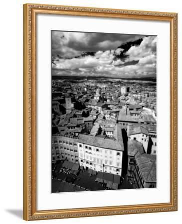 Infra Red Image of Siena across Piazza Del Campo from Tower Del Mangia, Siena, Tuscany, Italy-Lee Frost-Framed Photographic Print
