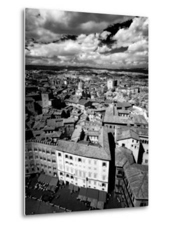 Infra Red Image of Siena across Piazza Del Campo from Tower Del Mangia, Siena, Tuscany, Italy-Lee Frost-Metal Print