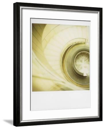 Polaroid of View Looking Down on Spiral Staircase in the Louvre Museum, Paris, France, Europe-Lee Frost-Framed Photographic Print