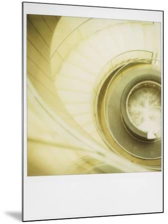 Polaroid of View Looking Down on Spiral Staircase in the Louvre Museum, Paris, France, Europe-Lee Frost-Mounted Photographic Print