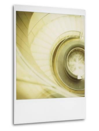 Polaroid of View Looking Down on Spiral Staircase in the Louvre Museum, Paris, France, Europe-Lee Frost-Metal Print