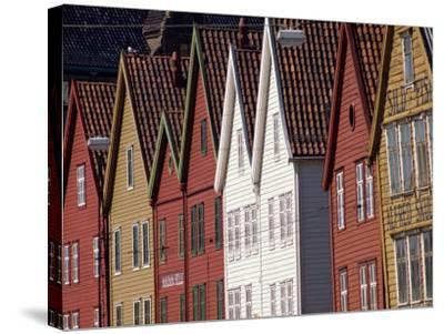 Detail of Traditional Housing Facades on the Quayside, Bergen, Norway, Scandinavia, Europe-Ken Gillham-Stretched Canvas Print