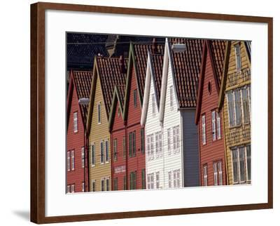 Detail of Traditional Housing Facades on the Quayside, Bergen, Norway, Scandinavia, Europe-Ken Gillham-Framed Photographic Print