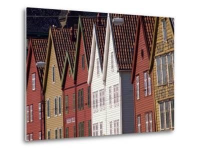Detail of Traditional Housing Facades on the Quayside, Bergen, Norway, Scandinavia, Europe-Ken Gillham-Metal Print