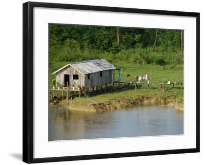 Wooden House with Plants and a Garden in the Breves Narrows in the Amazon Area of Brazil-Ken Gillham-Framed Photographic Print
