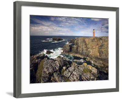 Lighthouse and Cliffs at Butt of Lewis, Isle of Lewis, Outer Hebrides, Scotland, United Kingdom-Lee Frost-Framed Photographic Print