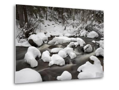 Snow-Covered Boulders and Flowing Creek, Glacier Creek, Rocky Mountain National Park, Colorado, USA-James Hager-Metal Print