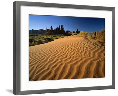 Totem Pole and Sand Springs, Monument Valley Tribal Park, Arizona, USA-Lee Frost-Framed Photographic Print