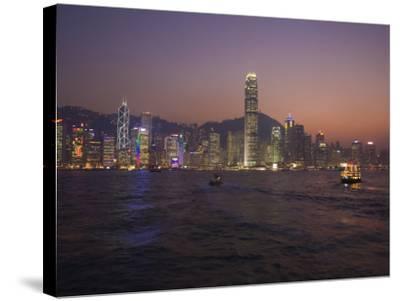 Hong Kong Island Skyline and Victoria Harbour at Dusk, Hong Kong, China-Amanda Hall-Stretched Canvas Print