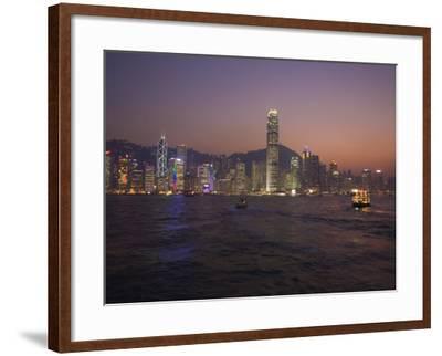 Hong Kong Island Skyline and Victoria Harbour at Dusk, Hong Kong, China-Amanda Hall-Framed Photographic Print