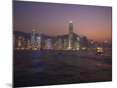 Hong Kong Island Skyline and Victoria Harbour at Dusk, Hong Kong, China-Amanda Hall-Mounted Photographic Print