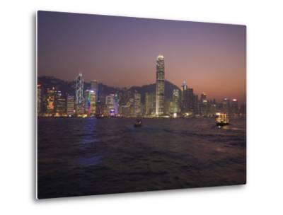 Hong Kong Island Skyline and Victoria Harbour at Dusk, Hong Kong, China-Amanda Hall-Metal Print