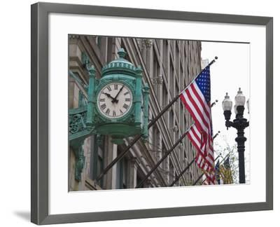 Marshall Field Building Clock, Now Macy's Department Store, Chicago, Illinois, USA-Amanda Hall-Framed Photographic Print
