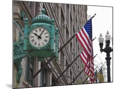 Marshall Field Building Clock, Now Macy's Department Store, Chicago, Illinois, USA-Amanda Hall-Mounted Photographic Print