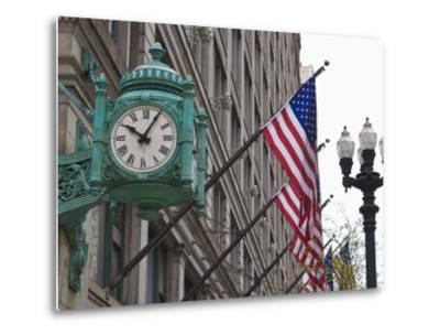 Marshall Field Building Clock, Now Macy's Department Store, Chicago, Illinois, USA-Amanda Hall-Metal Print