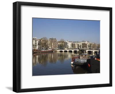 Amstel River and Magere Bridge, Amsterdam, Netherlands, Europe-Amanda Hall-Framed Photographic Print