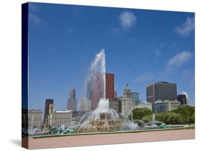 Buckingham Fountain in Grant Park with Skyline Beyond, Chicago, Illinois, USA-Amanda Hall-Stretched Canvas Print