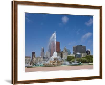 Buckingham Fountain in Grant Park with Skyline Beyond, Chicago, Illinois, USA-Amanda Hall-Framed Photographic Print