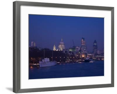 St. Paul's Cathedral and the City of London Skyline at Night, London, England, United Kingdom-Amanda Hall-Framed Photographic Print