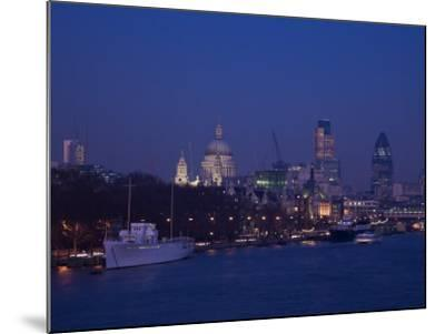 St. Paul's Cathedral and the City of London Skyline at Night, London, England, United Kingdom-Amanda Hall-Mounted Photographic Print