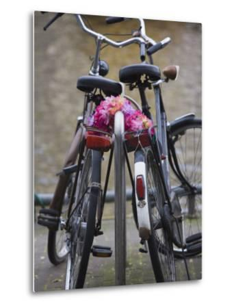 Two Bicycles with a Flower Chain, Amsterdam, Netherlands, Europe-Amanda Hall-Metal Print