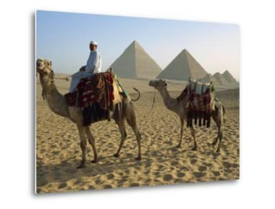 Camels and Rider at the Giza Pyramids, UNESCO World Heritage Site, Giza, Cairo, Egypt-Dominic Harcourt-webster-Metal Print