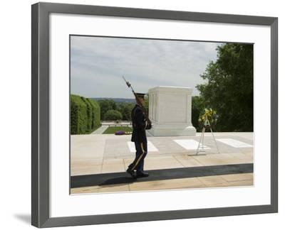 Guard at the Tomb of the Unknown Soldier, Arlington National Cemetery, Arlington, Virginia, USA-Robert Harding-Framed Photographic Print