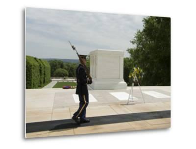 Guard at the Tomb of the Unknown Soldier, Arlington National Cemetery, Arlington, Virginia, USA-Robert Harding-Metal Print